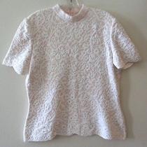 St. John Blush Pink Ivory Floral Sparkle Detail Short Sleeve Formal Top Sz 12 Photo