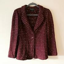 St. John Burgundy Maroon Red Gold Tweed Blazer Jacket Size 6 Msrp 1295 Photo