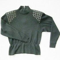 St John by Marie Gray Black High Neck Sweater Size 6 W Gold & Black Paillettes   Photo