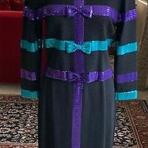 St John by Marie Gray Knit Skirt Suit W/ Colored Ribbon Detail Shiny Trim Sz 12 Photo