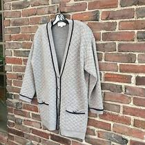 St. John Cashmere Medium Gray Cardigan Sweater With Blue Trim Photo