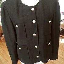 St John Caviar Black Wool Blend Button Front Jacket Four Pockets  Size 16 Photo
