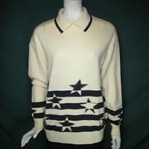 St. John Col Crem/navy Stripe Wool/rayo Knit Pullovr Sweater Gold Stud Stars M-L Photo