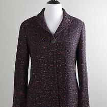 St. John Collection 1295 Pink Textured Tweed Knit Top Button Jacket Top Size 10 Photo