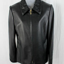 St. John Collection Black Lamb Leather Woven Trim Full Zip Blazer Jacket Size 8 Photo