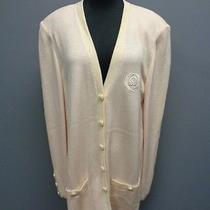 St. John Collection Blush Pink Button Down Knit Cardigan Sweater Size L Sma9198 Photo