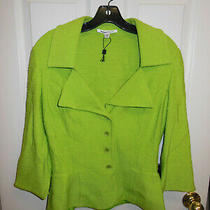 St. John Collection Lime Wool Blend Blazer / Coat Jacket - Size 8 Photo