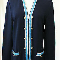 St. John Collection Navy Blue Zip Front Sweater/cardigan Sz 6 or S 1295 Euc Photo