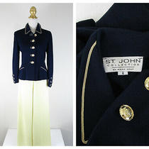 St. John Collection Navy Yellow Gold Santana Knit Pant Suit Size 4 Formal Career Photo