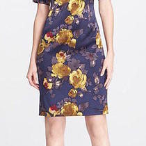 St John Collection Painted Rose Print Charmeuse Dress   (Size 14) Photo