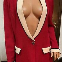St John Collection Red Blazer Elegant Size 14 Photo