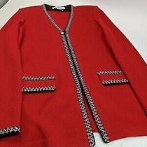 St. John Collection Red Knit Blazer Jacket Sz 4 Photo