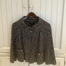 St John Collection Sz 6 Black White Short Open Jacket Knit 3/4 Sleeve Small Nice Photo
