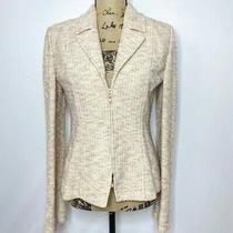 St. John Collection Wool Blend Blazer 8 Cream Pink Peach Heathered Zip Up Jacket Photo