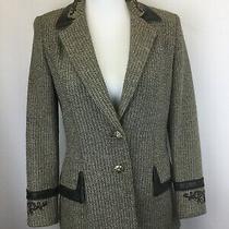 St John Couture Jacket Blazer Suit Sz 2 Small Brown Cream Santana Knit Leather  Photo