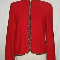 St John Couture Red Knit W/black Leather & Gold Chain Link Trim Zip Jacket 6 Photo
