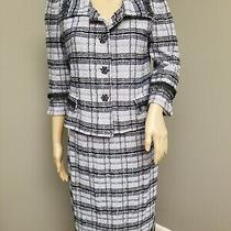 St. John Couture Skirt Suit Tweed Fringed Blue Silver Jacket and Skirt Size 4 Photo