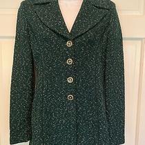 St. John Dark Green Knit Long Tunic Blazer Jacket Button Size 4 Beautiful Mint Photo