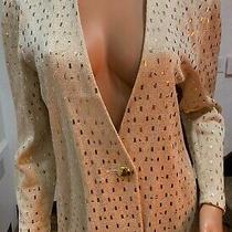 St John Elegant Blazer Beige Gold Size 8 Photo