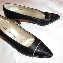 St John Emily Satin Black Pumps With Shiny Accent Cap Toe Shoes 7.5 a Worn Once Photo
