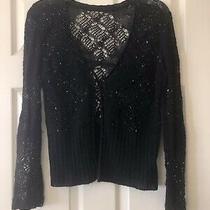 St. John Evening Black Beaded Cashmere Sweater (2-4) Photo