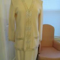St. John Evening by Marie Grey Cream Jacket Skirt Embellished With Gold Euc Photo