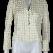 St John Evening Marie Gray Ivory Embellished Rhinestone Knit Zip Jacket Sz 2 Photo