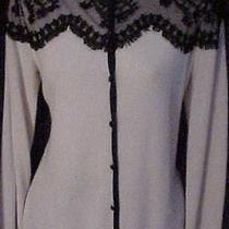 St. John Exquisite Vogue Laceoverlay Silk Cashmere Wool Sweater  4 / 6 Photo