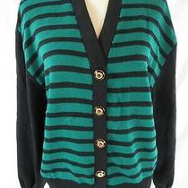 St John Green and Black Striped Cardigan Size L Photo