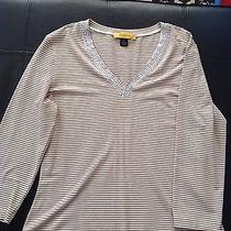 St. John High End 3/4 Sleeve Studded v Neck Stretch Top Size L Photo