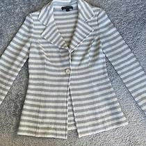 St John Ivory and Gray Stripe Knit Jacket Size 4 Photo