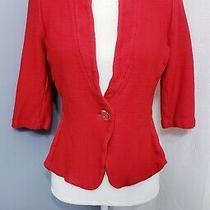 St John Jacket Red Knit Suit Blazer Size 8  Photo
