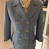 St John Jacket Size 6 Blazer Blue Santana Knit Signature Buttons Gold Black Photo