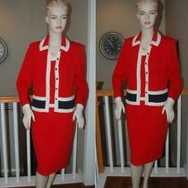St. John Knit Collection Black 3 Pc Red/navy Jacket Shell Skirt Suit Sz 6 Photo