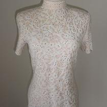 St. John Knit Evening Rhinestone Sequin Embossed Floral Mock Neck Sweater Top 4  Photo