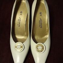 St. John Knit White High Heels Size 8b High End Italy Very Attractive 225 Photo