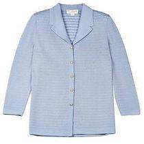 St John Knits 1295 Blue Ribbed Knit Jacket 12 (175326) Photo