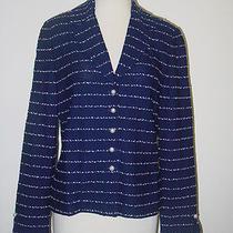 St John Knits Blue White Striped Knit Blazer Jacket 8 Photo
