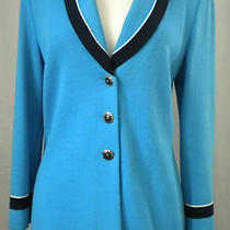 St. John Knits Collection Marie Gray Jacket Blazer Aqua Blue Size 8 Pre-O Euc Photo