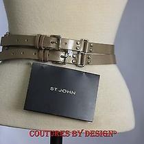 St John Knits Gold Leather Belt Nwt Msrp 300 Photo