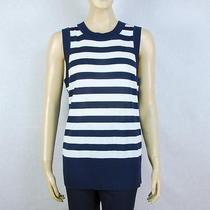 St John Knits Navy & White Striped Knit Top Size Large Photo