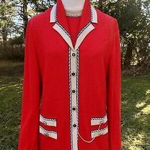 St John Orange Red 2pc Knit Chain Detail Long Cardigan Blazer Sz 6 Photo