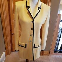 St John Pale Yellow and Black Career Blazer With Crystal Buttons Size 6 Photo