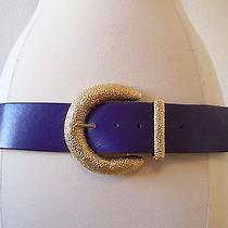 St John Purple Leather Belt With Gold Buckle L Photo