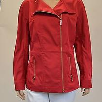 St. John Red Water Resistant Outerwear Sophisticated Jacket Size Small Photo