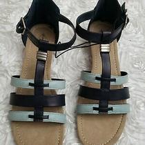 St. Johns Bay Black Blue Flex Form Women' Wedge Sandal With Ankle Strap Size 10 Photo