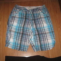 St. John's Bay Blue Aqua Black White Plaid Front Zip 5 Pocket Cotton Shorts  8 Photo