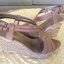 St John's Bay Brown Chevron Platform Wedges Sandals Strap Cork Heels Shoes 9 Photo