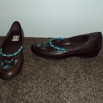 St. John's Bay Brown & Turquoise Leather Comfort Flats Women's Shoes 7.5m Photo