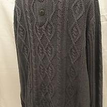 St John's Bay Charcoal Gray Cable Knit Sweater Mens' L Photo